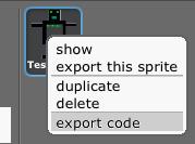 Export Code (context sensitive menu)