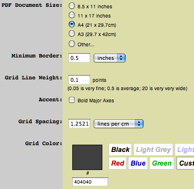 Settings for a square LEGO grid
